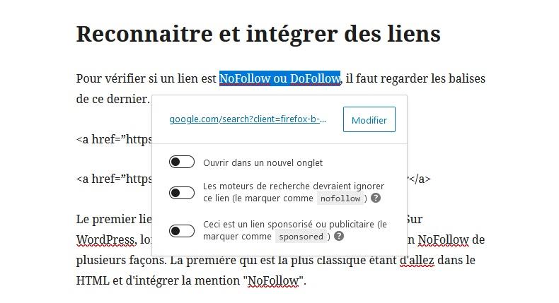integrer lien dofollow